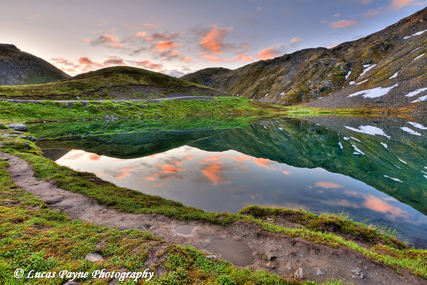 Morning reflections on Summit Lake at Summit Lake State Recreation Site, Hatcher Pass, Southcentral Alaska, Summer, HDR