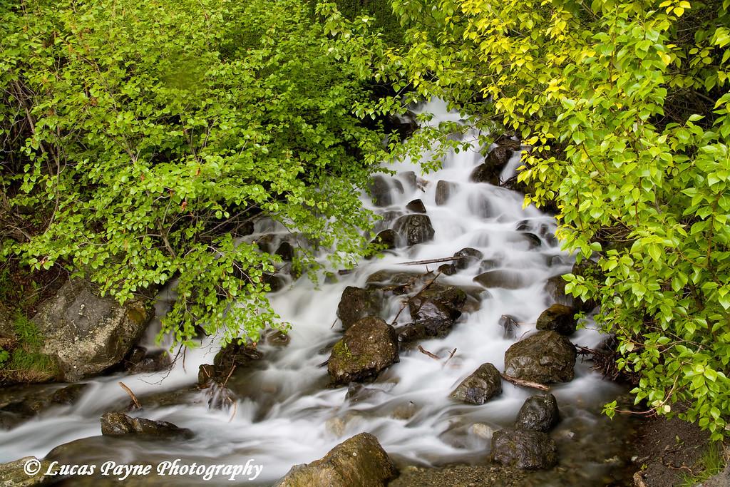 Falls Creek along the Seward Highway in Alaska.<br /> May 30, 2009