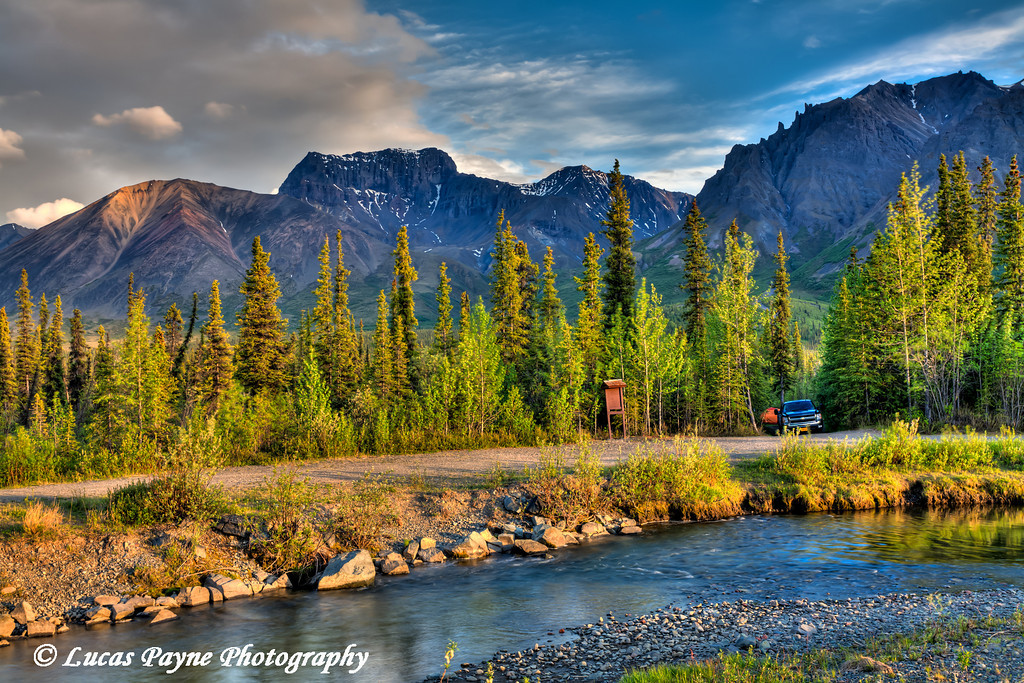 Campsite at Jack Creek along the Nabesna Road with Skookum Volcano in Wrangell St. Elias National Park and Preserve<br /> June 10, 2011<br /> HDR