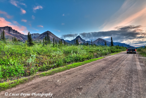 Truck on the Nabesna Road at sunset in Wrangell-St. Elias National Park and Preserve<br /> June 12, 2011<br /> HDR