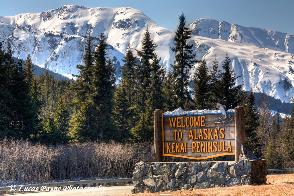 """Welcome To Alaska's Kenai Peninsula"" sign along the Seward Highway.<br /> April 15, 2011<br /> HDR"