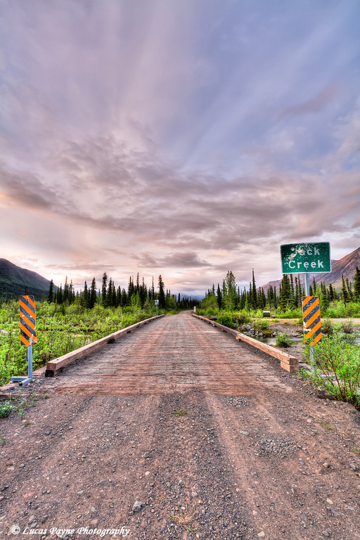 Sunrise over the Wrangell Mountains  and the Jack Creek Bridge on the Nabesna Road in Wrangell-St. Elias National Park and Preserve<br /> June 12, 2011<br /> HDR