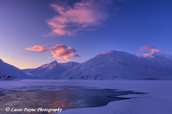 First light on the snow capped peaks around frozen Portage Lake, Chugach National Forest, Southcentral Alaska<br /> <br /> February 22, 2012