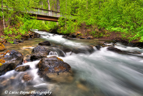 South Fork of Eagle River and a foot bridge on the trail to South Fork Eagle River Falls<br /> June 14, 2011<br /> HDR