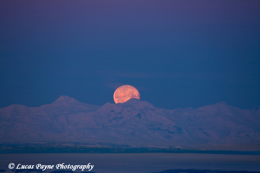 Moon setting over the Alaska Range and Cook Inlet from Bear Valley in Anchorage, Alaska.<br /> January 31, 2010