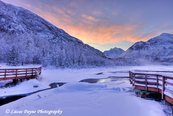 Colorful sunrise over a stream and the salmon viewing deck at the Eagle River Nature Center in Chugach State Park<br /> HDR<br /> January 24, 2012