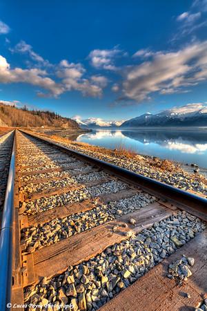 Railroad tracks along Turnagain Arm<br /> HDR<br /> March 26, 2011