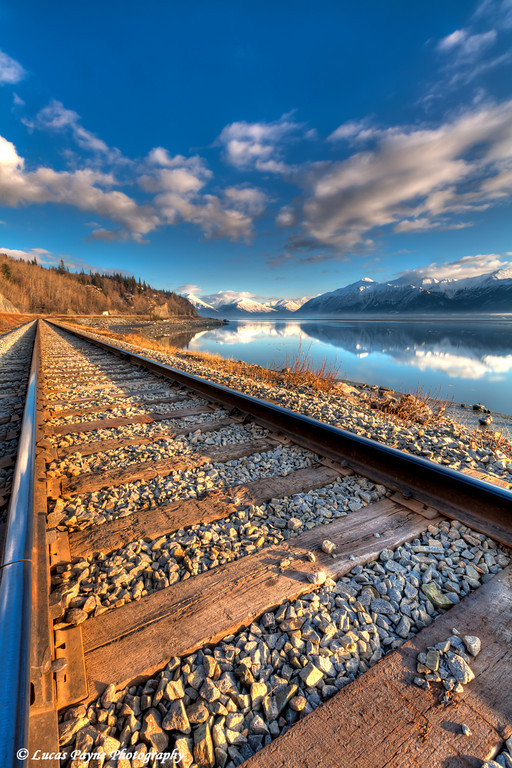 Railroad tracks along Turnagain Arm<br /> HDR<br /> March 26, 2011