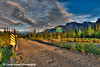 Bridge over Jack Creek on the Nabesna Road with Skookum Volcano in the background at sunset in Wrangell St. Elias National Park and Preserve<br /> June 10, 2011<br /> HDR