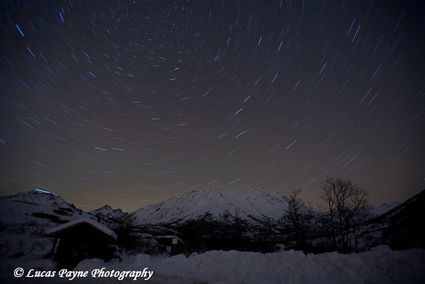 Star Trails over the Talkeetna Mountains at the Gold Mint Trail head near Hatcher Pass.<br /> January 9, 2010