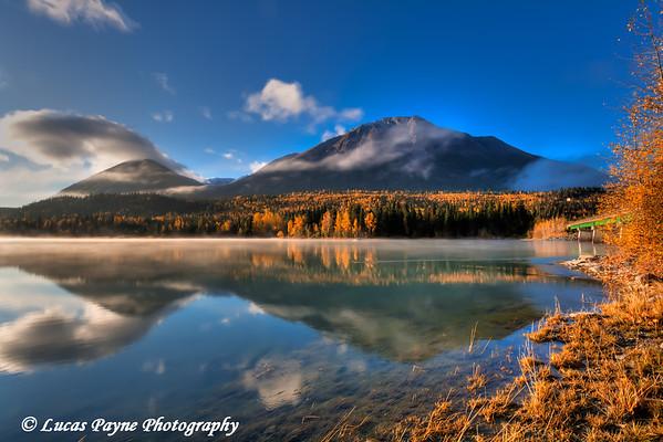 Fall colors and the Kenai Mountains reflecting on Kenai Lake at Cooper Landing<br /> HDR<br /> September 30, 2011