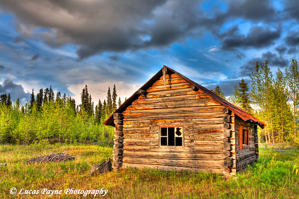 Abandoned log cabin along the Nabesna Road in Wrangell-St. Elias National Park and Preserve<br /> June 11, 2011<br /> HDR