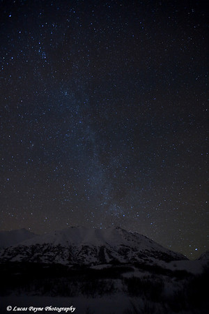 The Milky Way over the Talkeetna Mountains at the Gold Mint Trail head near Hatcher Pass.<br /> January 9, 2010