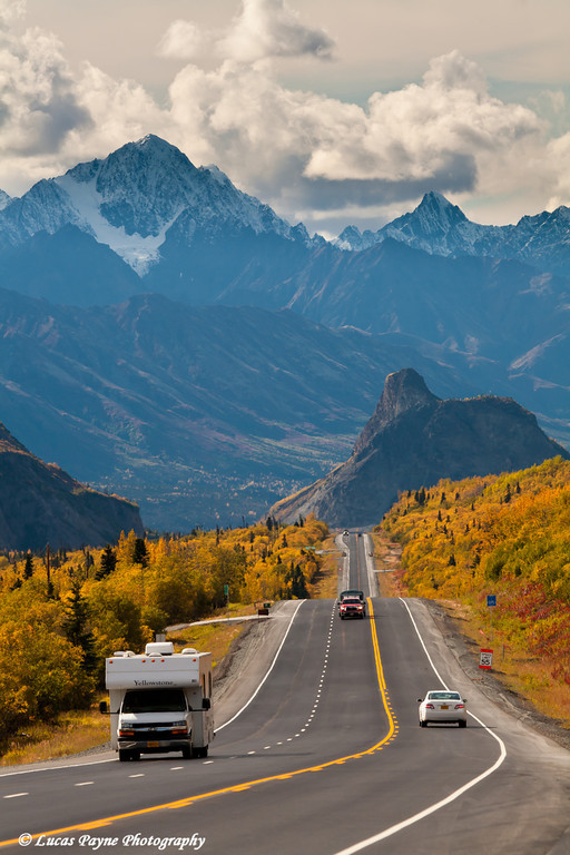 Traffic on the Glenn Highway with Lion's Head Mountain and the Chugach Mountains in the background<br /> September 08, 2011