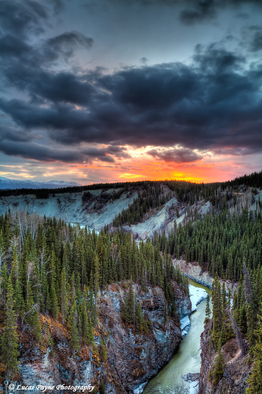 Scenic view of the Kuskulana River Canyon at sunset from the Kuskulana River Bridge on the McCarthy Road in Wrangell-St. Elias National Park & Preserve<br /> HDR<br /> May 13, 2011