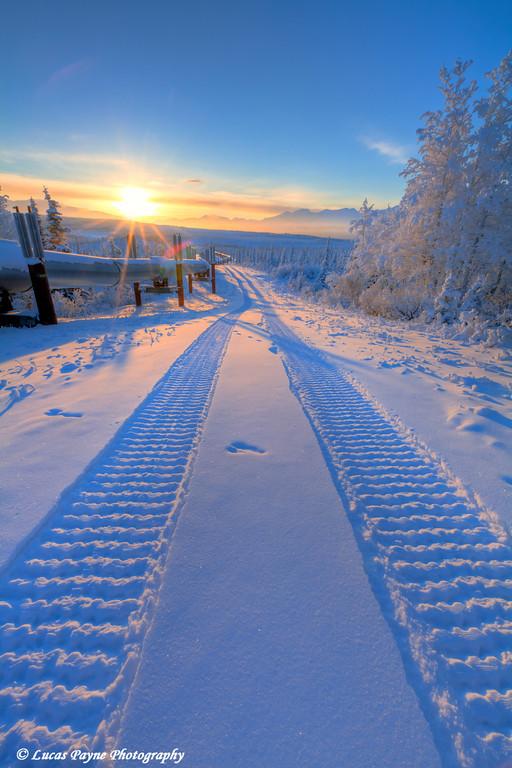 Winter sunset and the Alaska Pipeline.<br /> December 27, 2010