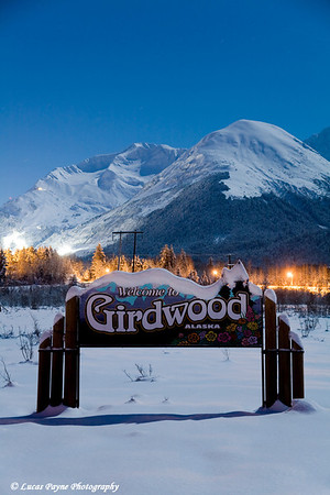 Moonlight over Girdwood, Alaska.<br /> December 11, 2008.