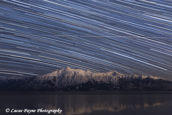 Star Trails over the Kenai Mountains and Turnagain Arm from the Seward Highway in Southcentral Alaska<br /> <br /> March 13, 2013