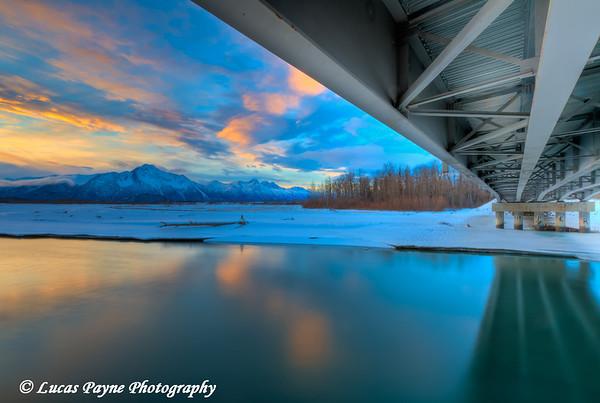 Matanuska River Bridge and Pioneer Peak.<br /> HDR<br /> January 24, 2011