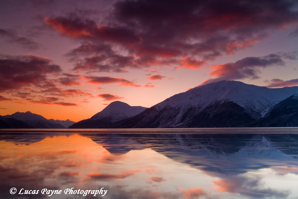 Sunrise over the Chugach Mountains and Turnagain Arm in Alaska.<br /> November 15, 2008