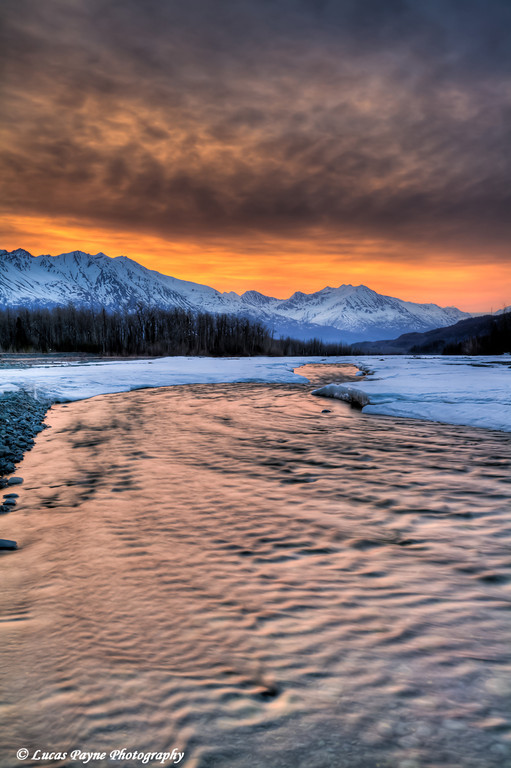 Morning light over the Chugach Mountains and Hunter Creek near the Knik River <br /> April 19, 2011<br /> HDR