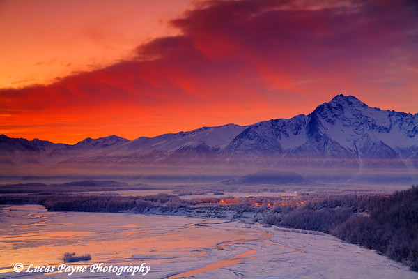 Sunrise over the Matanuska Valley and Palmer, Alaska<br /> <br /> December 12, 2009