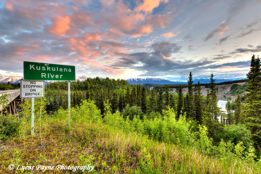 Kuskulana River sign at the Kuskulana River Bridge on the McCarthy Road in Wrangell-St. Elias National Park and Preserve<br /> <br /> June 15, 2012