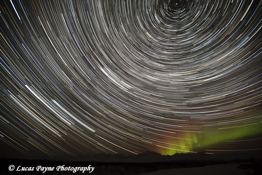 Star Trails and Northern Lights above Denali (Mt. McKinley) and the Alaska Range from Denali Viewpoint South along the Parks Highway, Denali State Park, Alaska<br /> <br /> March 14, 2013