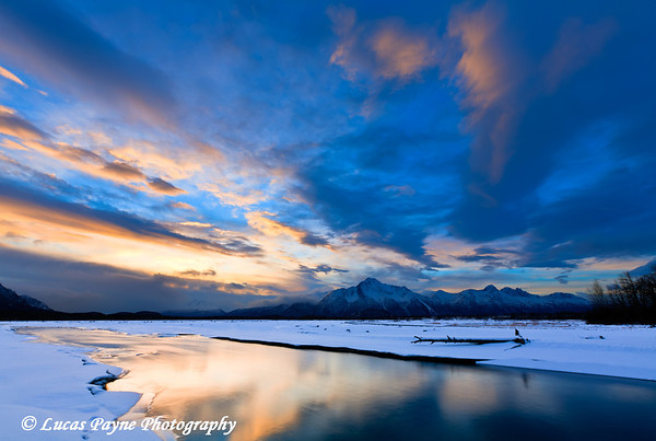 Matanuska River and Pioneer Peak.<br /> HDR<br /> January 24, 2011