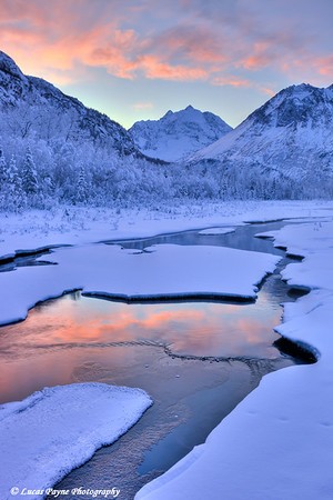 Colorful sunrise over a stream at the Eagle River Nature Center in Chugach State Park<br /> HDR<br /> January 24, 2012