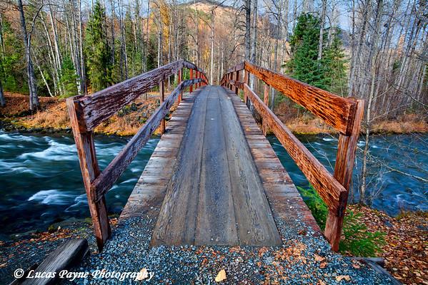 Resurrection Creek Bridge and the Resurrection Pass Trail near Hope, Alaska.  (HDR)<br /> October 06, 2010
