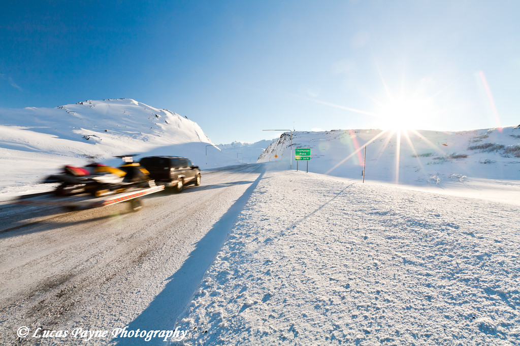 Traffic on the Richardson Highway at Thompson Pass near Valdez, Alaska.<br /> November 26, 2010