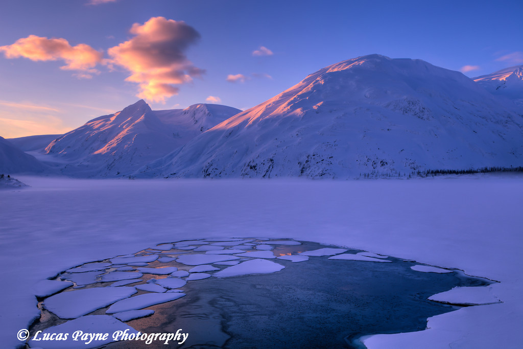 First light on the snow capped peaks around frozen Portage Lake, Chugach National Forest, Southcentral Alaska<br /> HDR<br /> February 22, 2012