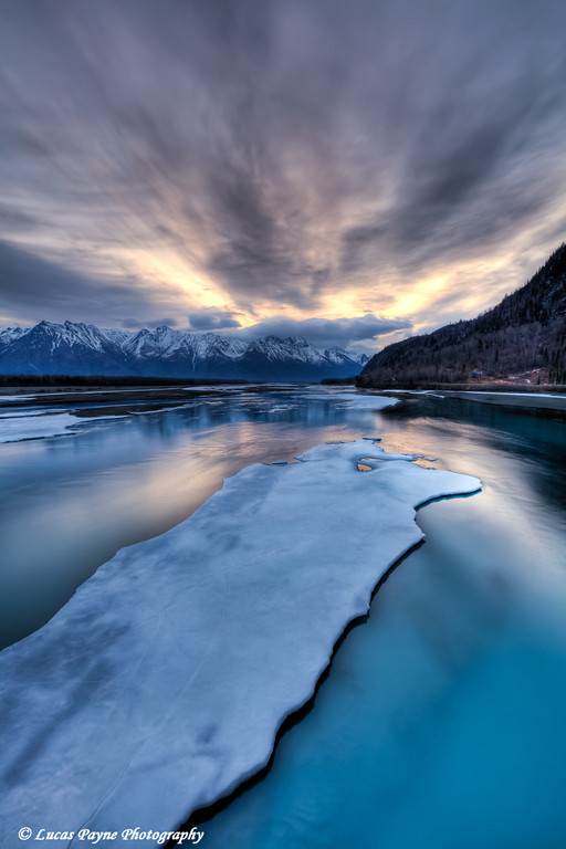 First light over the Knik River and Chugach Mountains from the Knik River Bridge April 21, 2011<br /> HDR