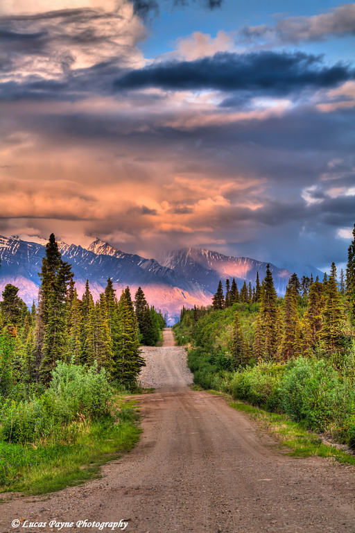 Colorful clouds at sunset over the Wrangell Mountains and Nabesna Road in Wrangell-St. Elias National Park and Preserve<br /> June 11, 2011<br /> HDR