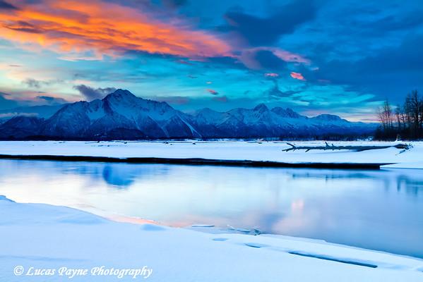 Matanuska River and Pioneer Peak.<br /> HDR<br /> January 24, 2011