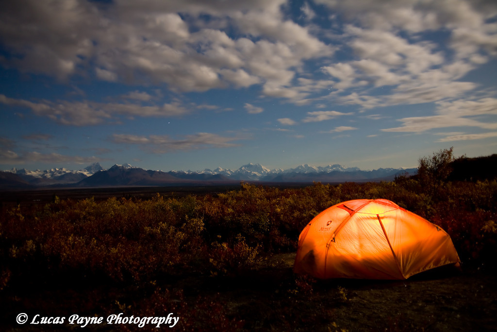 Camping along the Denali Highway under a full moon.<br /> September 05, 2009