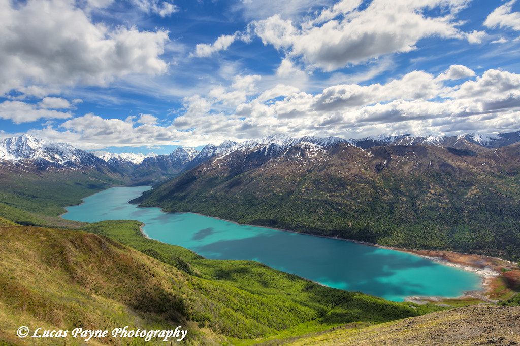 View of Eklutna Lake from the Twin Peaks trail in Chugach State Park, Southcentral Alaska.<br /> <br /> June 03, 2014