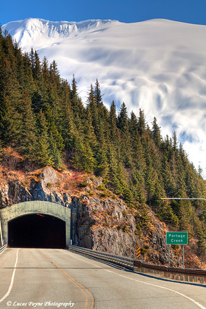 Tunnel and road to Whittier along Portage Lake<br /> April 15, 2011<br /> HDR