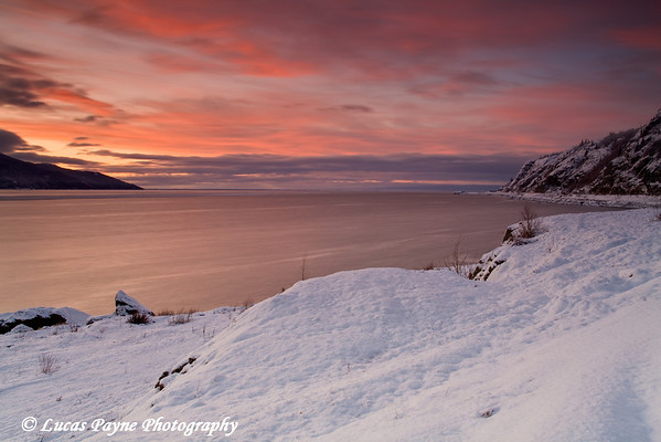 Sunset along Turnagain Arm and the Seward Highway.<br /> November 28, 2009