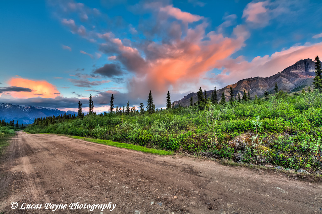 Colorful clouds at sunset over the Wrangell Mountains and the Nabesna Road in Wrangell-St. Elias National Park and Preserve<br /> June 11, 2011<br /> HDR