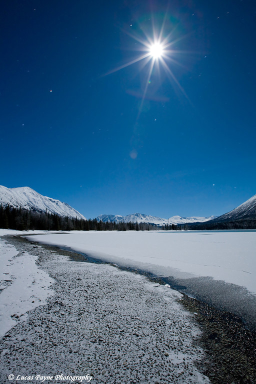 New Years Eve Blue Moon over Kenai Lake in Southcentral Alaska.<br /> December 31, 2009