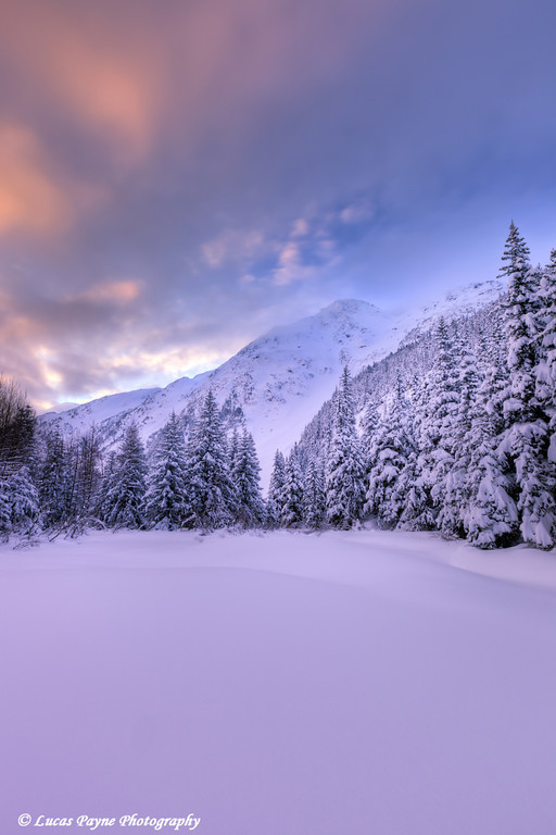 Colorful clouds over the Chugach Mountains in the Portage Valley, Chugach National Forest<br /> HDR<br /> January 27, 2012