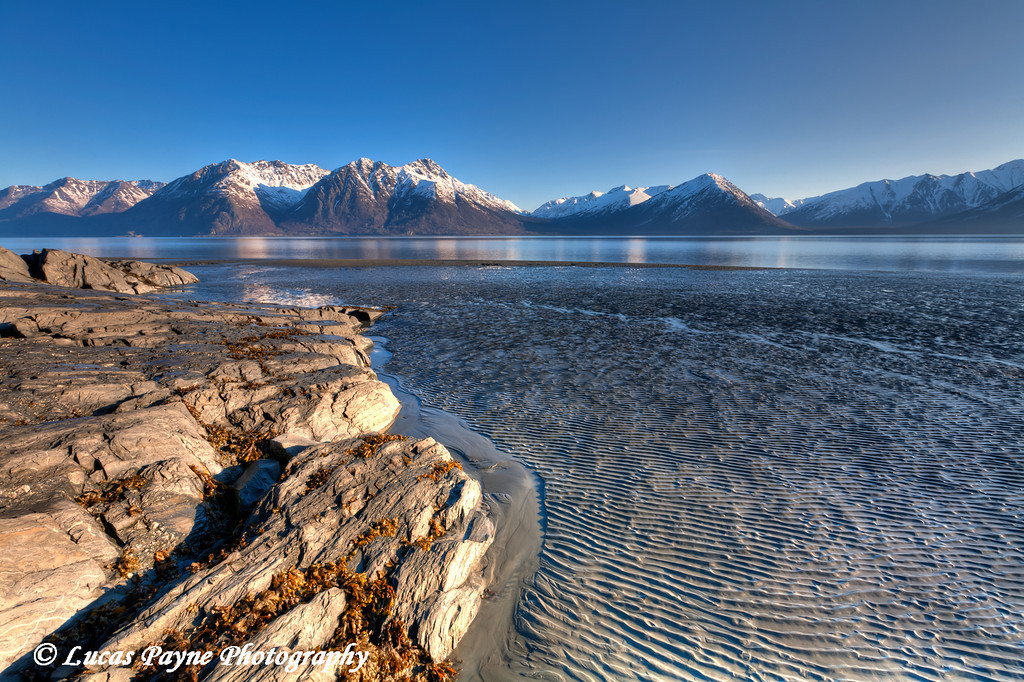 Low tide and mud flats at Turnagain Arm near Hope, Alaska<br /> April 15, 2011<br /> HDR