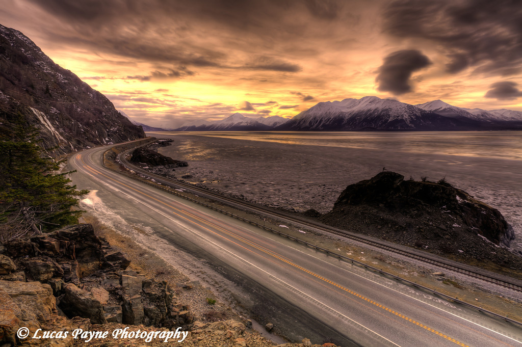 Seward Highway along Turnagain Arm with the Kenai and Chugach Mountains.<br /> HDR<br /> January 26, 2011