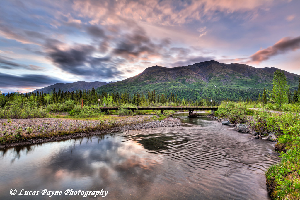 Sunrise over Jack Creek and the Jack Creek Bridge on the Nabesna Road in Wrangell-St. Elias National Park and Preserve<br /> June 12, 2011<br /> HDR