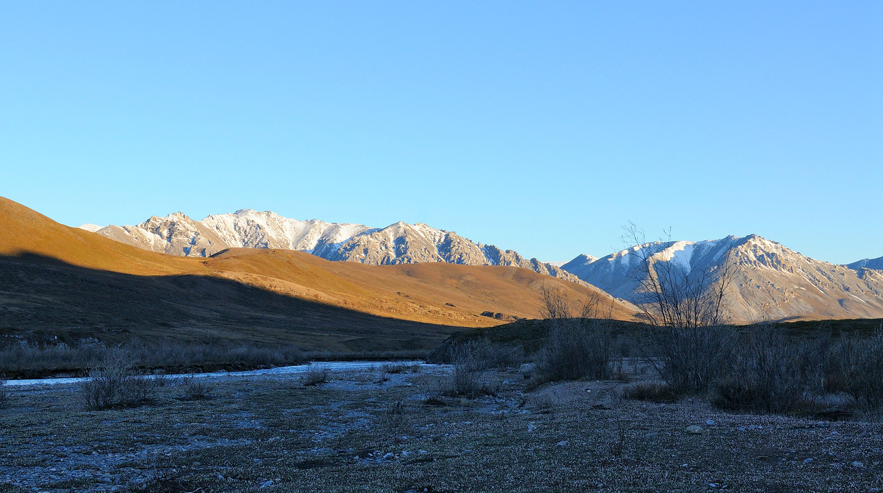 Looking west from our camp on the upper Kongakut River .