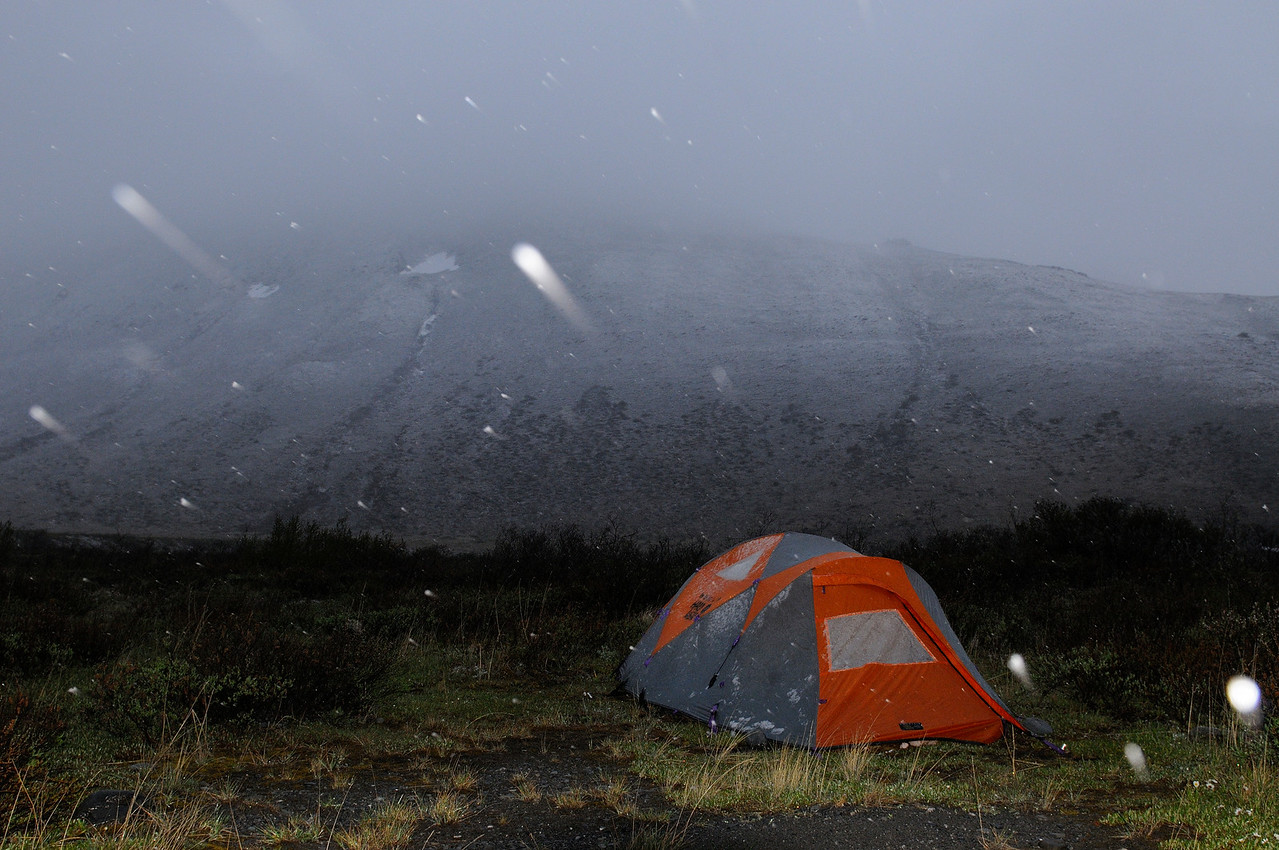 The rain turned to snow at about 2:30 AM.