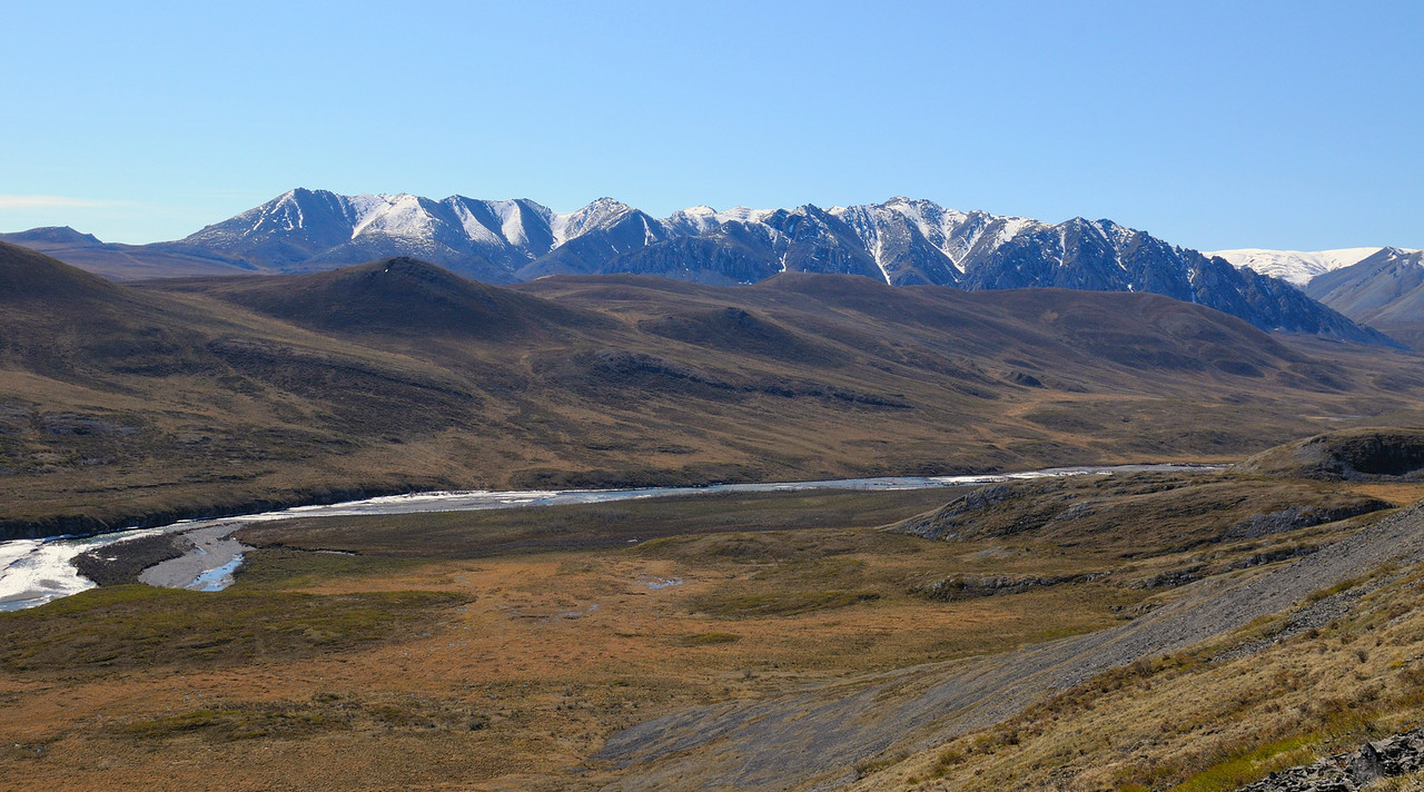 Looking west toward the upper Kongakut River Valley and the Davidson Mountains.