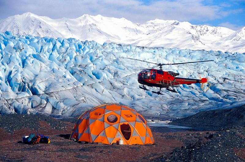 Heli-hiking base camp on the Knik Glacier.